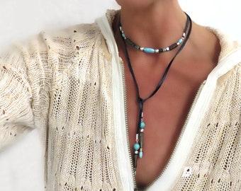 "Black Leather Wrap Necklace with Turquoise-Boho Beaded Wrap Choker Necklace//Headband//Armband/Festival Head Jewelry 40""/55"""