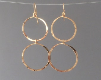 Gold Hammered Cascading Circle Hoop Earrings