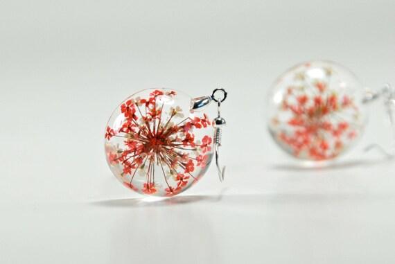 Favoloso Fiore secco resina orecchini orecchini fiore rosso e bianco SK85