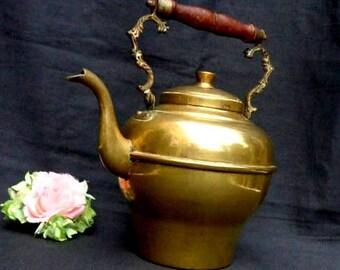 Large Vintage Brass Tea Kettle