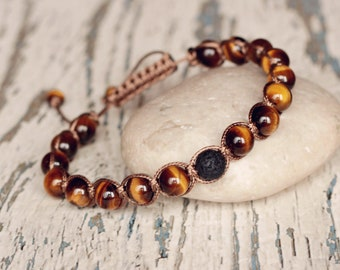 knotted bracelets shamballa brown tiger eye shamballa cord bracelet beaded jewelry for everyday adjustable bracelet healing mens gift