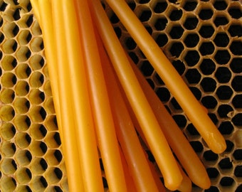 Beeswax Candles, Hand Dipped Birthday Candles, Orange Tapers, Coloured Beeswax Candles, Bees Wax.