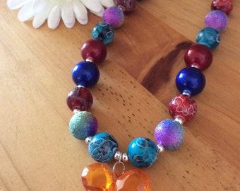 "Bubblegum bead ""garden party"" necklace"