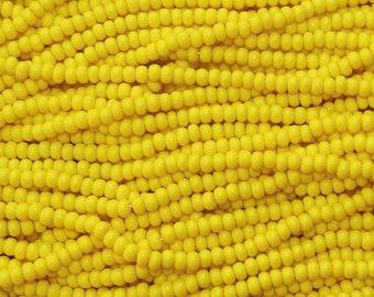 6/0 Opaque Dark Yellow Czech Glass Seed Bead Strand (CW104) SE