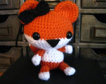 Crochet Orange and White Fox Amigurumi Stuffed Animal with Black Bow Small Toy Birthday Gift or Christmas Present Free Shipping Inexpensive