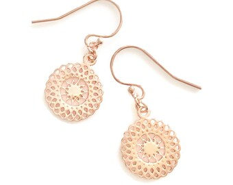 Blush Drop Earrings - Blush Gold Earrings - Gold Sun Charm Earrings - Sunshine Jewellery - Blush Gold Jewelry Gift for Women - Blush Gift