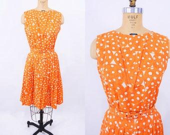 "ANNIVERSARY SALE // 1960s dotted dress   mid century orange polka dot belted dress   vintage 60s dress   W 25"""