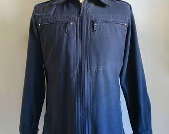 Vintage Men's 70's German, Military Jacket, Navy Blue, Coat (M)