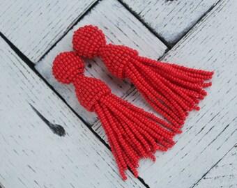 Oscar de la renta long beaded tassel red earrings Red earrings tassel beaded earring clip earring tassel Oscar renta earring tassel jewelry