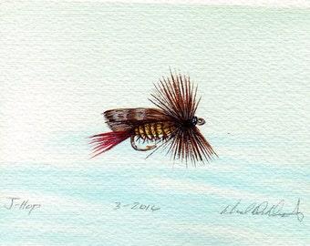 Pêche Art - Original Art - aquarelle - Hopper - mouche sèche - Made in Michigan - Michigan artiste - mouche pêche - cadre noir - cadeaux pour lui
