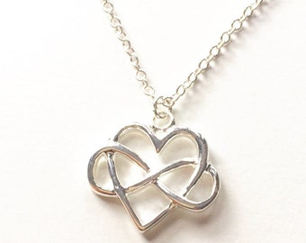Tiny Infinity Heart Necklace, Simple, Dainty