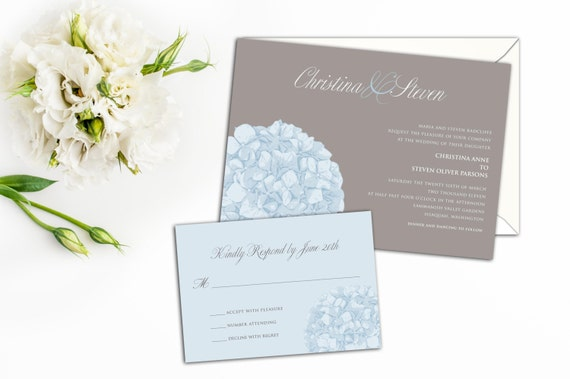 Elegant Hydrangea Wedding Invitation Set, Floral Wedding Invitations, Wedding response cards, Thank you cards, Simple Floral Elegance Invite