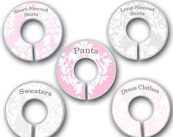 CLOSET DIVIDERS Pink Grey Damask Bedroom and Baby Nursery Art Decor CD0057