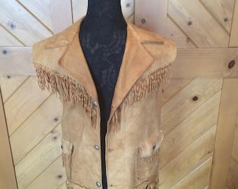 Vintage Western leather fringed vest