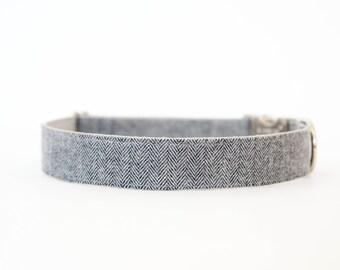 Dog Collar - Grey Flannel Herringbone