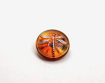 1pc Czech Hand Made Art Glass Button Cabochon Dragonfly Round  18mm Topaz (15070silver)