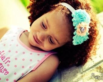 Summer Blues Aqua Peach and Lavender Flower Headband - Baby -  Newborn - Infant - Toddler - Girl - Teen - Adult - Photo Prop