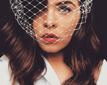 Veil headband off white or black Merry widow veil birdcage veil voilette wedding veil bachelorette veil gothic bride funeral veil Beyonce