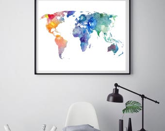 Travel map Wanderlust gift Watercolor print World map print Typography Travel gift Home decor World map print Poster ArtPrintsByChrista