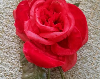 Vintage Velvet + Silk Rose Pin