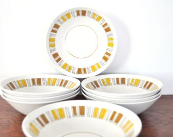 Vintage Mikasa Cera Stone Catalina Cereal Bowls, MCM Mid Century Modern Abstract Pattern, Yellow and Brown