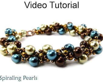 Video Tutorial Pattern Beaded Bracelet Necklace Beginner Beading Jewelry Making Spiral Stitch Pearls Spiraling Rope Stitch Beads #9658