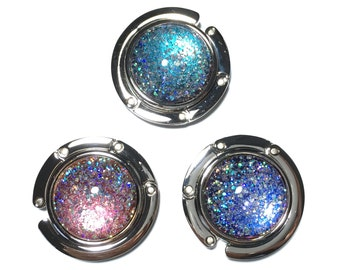 Glitterbomb Galaxy Color Changing Purse Hook, Multichrome Holographic, Silver Folding, Collapsable, Purse Hanger, Bag Holder