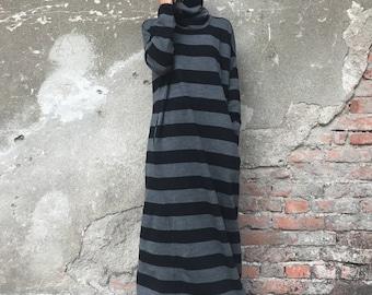 Sweater Dress, Plus Size Clothing, Women Kaftan Dress, Turtleneck Dress, Maxi Dress, Striped Dress, Gray Dress, Women Dress, Loose Dress