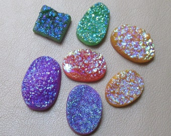 Multi Color Druzy Agate 7 Piece Lot Mix Shape Crystal Druzy Natural Geode Druzy size 17 x 18 to 20 x 30 mm   933