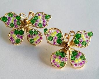 earrings, handmade earrings, flower earrings, red earrings