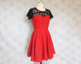 SALE Red Wine Dress - Black Lace, Sweetheart Neckline, Full Skirt,