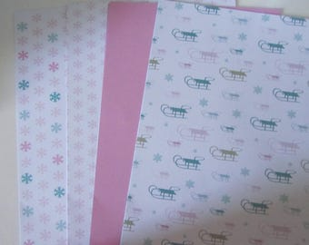 Set of 2 x 4 sheets of patterned papers double sided - 180 gr