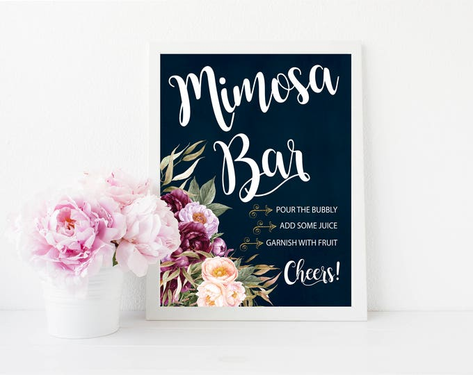 "Mimosa Bar Sign 8x10"" // Momosa Bar // Mom-mosa // Printed //Mimosas // Floral // Burgundy // Navy // Made to Match our FLORENCE COLLECTION"