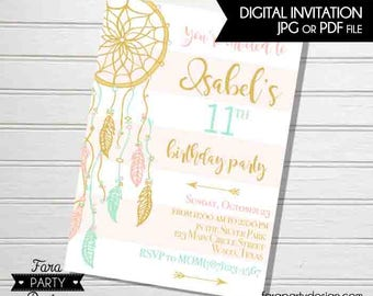 Boho Dream Catcher Birthday Party PRINTABLE Invitation by Fara Party Design | Bohemian Tribe Girl