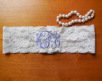 Monogrammed Garter, Monogram, Wedding Monogram, Lavender Garter, Purple Garter, Garter, Wedding Garter, Lace Garter, Keepsake Garter