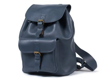 Backpack Blue leather back to school