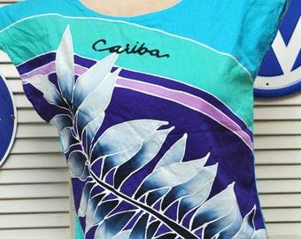 Vintage Womens 80's Tropical Shirt Bahama's Souvenir 1980 80s Eighties Shoulder Pads Hand Batik Cariba Medium Small Cotton Blue Green Purple