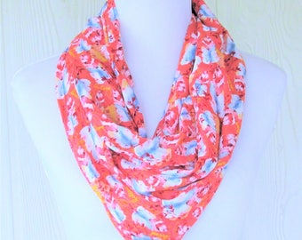 Orange Nature Print Infinity Scarf, Watercolor Leaves, Fashion Scarf, Necklace Scarf, Women's Scarves, Eclectasie