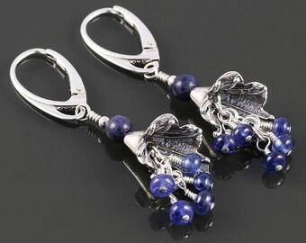Genuine Sapphire Earrings. Sterling Silver Flowers. Lever Back Ear Wires. September Birthstone. Cluster Earrings. f17e013