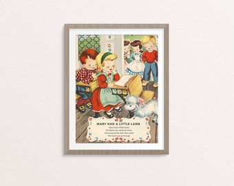 "Digital Mary Had a Little Lamb nursery rhyme poster / 8"" by 10"" / downloadable, printable / vintage Mother Goose digital print / wall art"