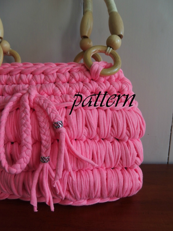 Digital crochet pattern t shirt yarn bag/ Zpagetti crochet pattern ...