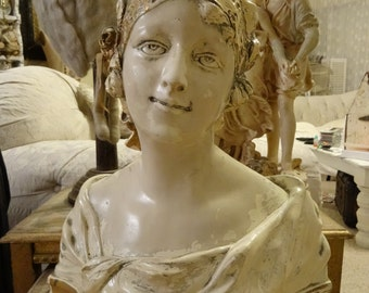 SALE Large Vintage Shabby Cottage Victorian Chic Depose Lady Bust