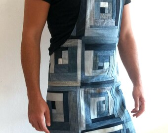 Patchwork jeans apron