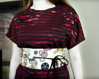 Obi Style belt - Tattoo Cotton with Faux Black Leather on reverse