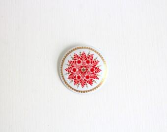 Enamel Pin, Enamel Brooch, Painted Enamel Pin, Painted Enamel Brooch, White Pin, White Brooch, Red Pin, Red Brooch, Red & White Brooch