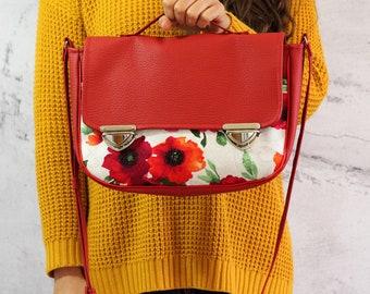 Poppy bag | Red satchel bag | Crossbody bag | Vegan satchel | Red bag | Messenger bag | Vegan bag | Red messenger bag | Red satchel handbag