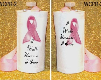 White Denim Pink Ribbon Breast Cancer Support Water Carriers to show your support