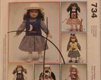 "McCalls Craft Pattern 734 Clothing for 18"" Doll UNCUT"