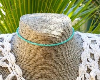 mousse RAS de cou aqua vert graine perle collier plage surf