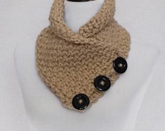 Taupe Crochet Scarf, Light Brown Chunky Button Cowl, Tan Crochet Neck Warmer,  Beige Wrap Scarf, Oatmeal Button Scarf, Crochet Cowl